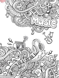Love this music doodle coloring sheets, adult coloring pages, coloring books, doodle art Love Coloring Pages, Adult Coloring Book Pages, Coloring Sheets, Coloring Books, Kids Coloring, Guitar Doodle, Music Doodle, Doodle Art, Note Doodles