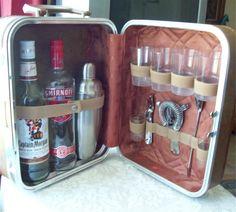 Vintage Portable Travel Bar w Tools SuitCase Cocktail Shaker Vintage Luggage, Vintage Bar, Vintage Suitcases, Vintage Market, Mini Bars, Smirnoff, Portable Bar, Jerry Can, Mobile Bar