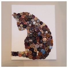 Button art cat with vintage buttons