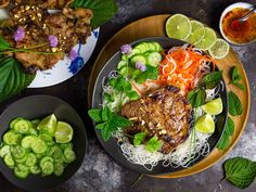 For a refreshing combination of hot and chilled, you can't beat grilled marinated Vietnamese-style pork chops (thit heo nuong xa) served on a bed of cold vermicelli noodles with pickled and fresh vegetables. It's like a salad, only with pork!