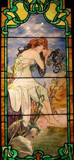"Mucha ""Summer"" stained glass window"