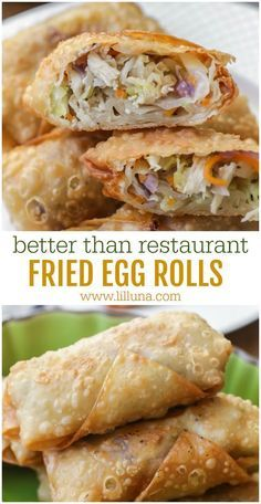Everyone loves these homemade fried egg rolls. They're the perfect appetizer or side to any Asian meal and are filled with chicken and veggies and fried to perfection. We especially love them dipped in sweet and sour sauce which makes them irresistible. Vegetarian Chinese Recipes, Authentic Chinese Recipes, Chinese Chicken Recipes, Easy Chinese Recipes, Asian Recipes, Healthy Recipes, Vegetarian Egg Rolls, Homemade Chinese Food, Recipe Chicken