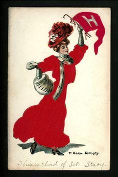 College Girl Postcard Artist Earl Christy Harvard University Silk Dress Ser 150 | eBay