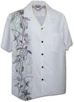 hawaiian wedding shirts for men   Tattoo Panel Mens Hawaiian Shirts Matching chest pocket 100% Cotton