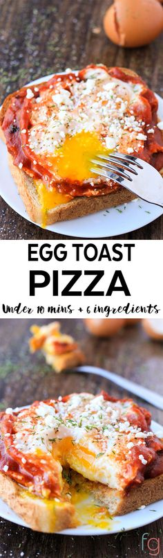This egg toast pizza is such an easy and quick breakfast idea. It's ready in under ten minutes and uses only six ingredients (two of which are salt and pepper)!