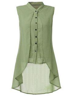 Women Sleeveless V Neck Button Pure Color Irregular Hem Chiffon Vest Long Blouse Online - NewChic Mobile. Long Blouse, Sleeveless Blouse, Chiffon Blouses, Chiffon Tops, Chiffon Shirt, Chiffon Dress, Indian Designer Wear, Mode Style, Indian Wear