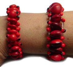 2 Rote Huayuros #Samenschmuck #Armbänder Peru #Naturschmuck - Perushop24 Alpaka Mode und Kunsthandwerk aus Peru Kind Mode, Peru, Bracelets, Jewelry, Fashion, Accessories, Arts And Crafts, Red, Handarbeit