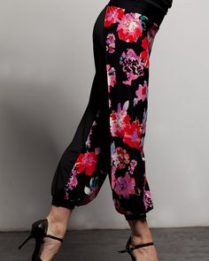 "Argentine Tango Babucha Pants with side slits  - ""Flowers"""