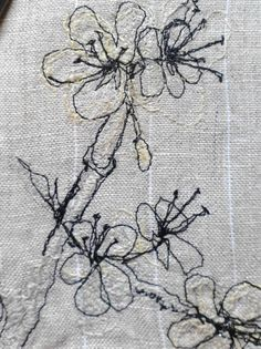 x x x ~ ''Blackthorn' detail. Machine embroidery on linen, by Stephanie Boon, 2012 « Dawn Chorus Studio.'
