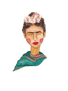 Frida Kahlo Watercolor Illustration