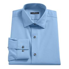 Men's Marc Anthony Slim-Fit No-Iron Dress Shirt, Size: 17.5-32/33, Light Blue
