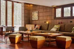 You Can Now Rent Frank Lloyd Wright's Gloriously Restored Eppstein House - Photo 4 of 13 - The original built-in sofa remains in the living room. Ten-foot windows and a slanted ceiling draw nature inside, while Maharam textiles decorate the furnishings. Built In Sofa, Palmer House, Frank Lloyd Wright Homes, Usonian, Living Room Modern, Living Area, Living Rooms, Family Rooms, Mid Century House