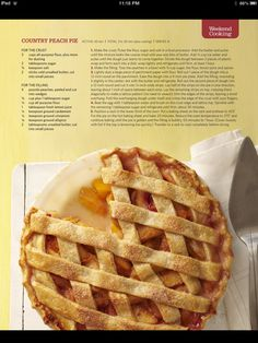 Old fashioned peach pie Best Peach Pie Recipe, Peach Pie Recipes, Peaches And Cream Dessert, Homemade Pie, Dessert For Dinner, Yummy Eats, Food To Make, Sweet Tooth, Sweet Treats