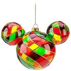 Mickey and Minnie Stained Glass | Disney Christmas Ornament - Mickey Mouse Ears - Stained Glass