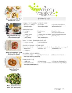 Vegetarian Meal Plan & Shopping List - Including Beer-Marinated Grilled Mushroom Tacos, Vegan Eggplant Meatballs + 3 more meatless dinners