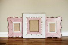 8x10 Stripe FrameHandmade Distressed Wood pink by Elementsframeco, $165.00