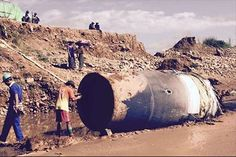A large metal object thought to be from a rocket fell from the sky onto a jade mine in Myanmar.