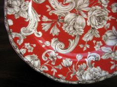 Decorative Plate - Red Brown Cream Tapestry Rose Edge www.DecorativeDishes.net