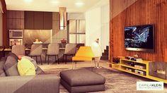Para este projeto em Pinheiros, os ambientes foram integrados, e misturamos tons neutros com toques de amarelo para dar destaque. O painel da TV é ripado com lâmina de madeira, e o móvel abaixo possui espaço para os aparelhos eletrônicos e uma lareira embutida, o que torna o living muito mais aconchegante.  #camilakleinarquiteta #living #hometheater #painel #marcenaria #sala #interiordesign #decoração