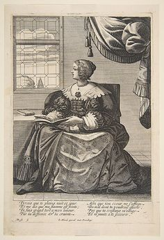 """""""Seated Woman Holding a Book and Singing,"""" Abraham Bosse, etching, undated 17th century (1630s?), French."""