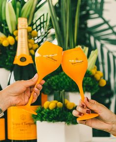 """cheers""ing & Champagne. Palms & citrus giving off the Mediterranean & California vibes. Vueve Champagne brand aligns well- fun and playful yet upscale."