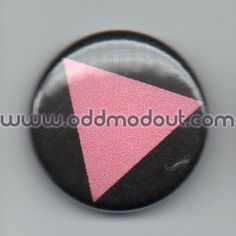 pink triangle - 1in button - pinback badge