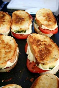 Mozerella, Tomato, Pesto, on  French Bread.....grilled YUMMY saw this on FB