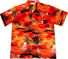"""Hawaiihemd / Hawaii Hemd """"Evening on Hawaii"""" / von Hawaiihemdshop.de / 100% Baumwolle / Knöpfe aus Kokosnuss / inkl. Brusttasche"""