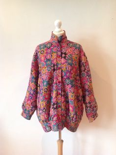 Vintage 80s 1980s Ladies Multi Coloured Quilted by baileysbits