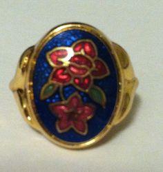 Vintage gold pink flower ring Avon Size 7.5
