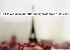 The little things you DID, MEANT a lot to me. Too bad you don't give a shit anymore.