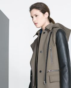 Image 3 of COAT WITH LEATHER SLEEVES from Zara
