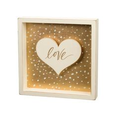 Love Gold Foil Heart Shadow Box Sign Primitives by Kathy