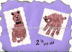 The handprint bear didn't turn out as cute as I would have liked, but the footprint teddy bear is adorable! To make the handprint bear, place a brown (any color) handprint on a piece of paper and then add ears and a tail by using either the pinkie finger or index finger. I drew on a face …