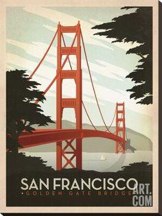 San Francisco: Golden Gate Bridge Stretched Canvas Print by Anderson Design Group at Art.com