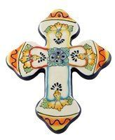 "HANGING CROSS 6.75"" X 8.75"" by Tierra Fina. $13.95. Ceramic. Handcrafted by the finest artisans. This will make a great gift! Hand painted in mexico and leadfree."