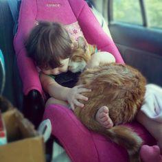 助手席で頬を寄せ合いながら一緒に眠る猫と幼い少女の写真が癒される: とみー