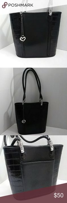 Brighton black vintage purse Nice leather tote in good clean condition, very spacious with snap top closure Brighton Bags Totes