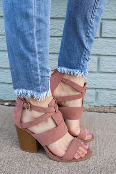 Blush Strappy Open Toe Wooden Heeled Sandals Barnes-115A