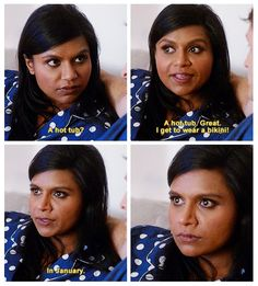 This is why I love this show. Mindy is so relatable. What girl wants to be in a two piece after the holidays?