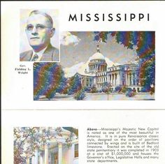 New to BigfootCountryTrader on Etsy: Vintage notecard  Mississippi  Governor Fielding Wright  Mississippi history  political collectible  Mississippi epherma  (5.00 USD)
