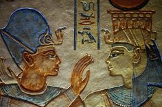 Art History - 400 C.E. Ancient Cultures - Ancient Egypt - Painted sunk relief of the king being embraced by a goddess. Tomb of Amenherkhepshef (QV 55) (New Kingdom) - short reading/article