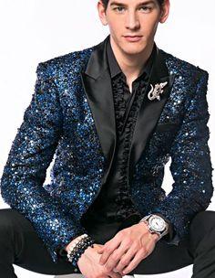 Fashion Unique Brand Mens Blue Sequin paisley Dinner Jacket Tuxedo Blazer glitter sparkly Sport coat peak lapel 10 days delivery custom make Prom Tuxedo, Tuxedo Dress, Latest Mens Fashion, Unique Fashion, Blue Blazer Men, Prom Suits For Men, Mens Indian Wear, Sequin Blazer, Sequin Jacket