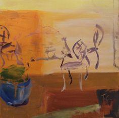 "Tea party invite at the terrace ""Terassilla tee kutsuu"", acrylic paint 2017/12"
