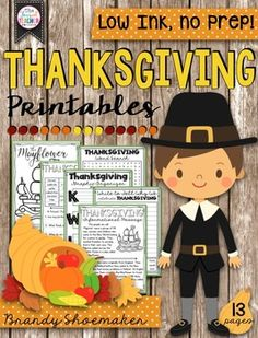 Thanksgiving Printables!  Thanksgiving themed no prep, low ink ELA printables for  Thanksgiving week studies!
