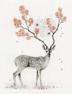 рисунок, олень, рога, дерево, листья, паутина