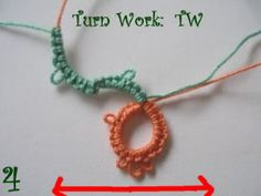 "Reverse Work vs. Turn Work | Tatting tutorial | #Tatting | ""Reverse Work (RW) means to flip from top to bottom. Turn Work (TW) means to turn like a page in a book (right to left)."" 