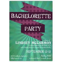 Ribbon Burst Bachelorette Party Invitations