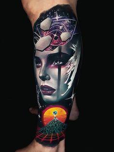 Arm tattoos done by tattoo artist Akbar Tawakkal Creepy Tattoos, Sexy Tattoos, Body Art Tattoos, Sleeve Tattoos, Arm Tattoos, Tattoo Ink, Modern Tattoos, Unique Tattoos, Small Tattoos