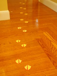 Duck feet removable labels from front door into kitchen for 1st birthday duck party #duckparty